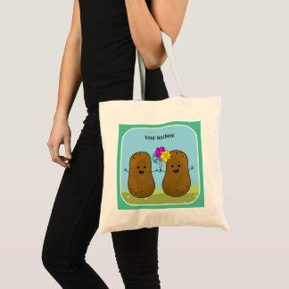 Bolsa Tote Batatas felizes, um grupo de flores, personalizado