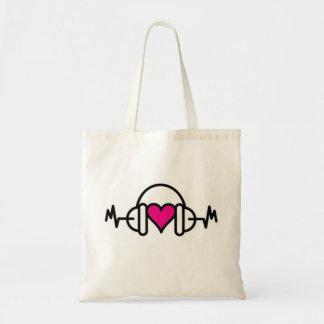 Bolsa Tote Batidas do coração cor-de-rosa do amor | com pulso