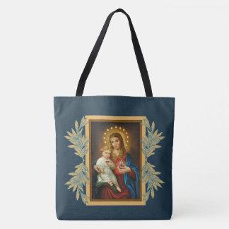 Bolsa Tote Bebê imaculado & doloroso Jesus de Mary do coração