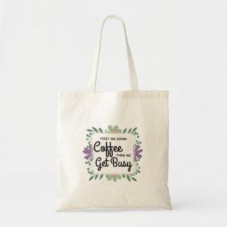 Bolsa Tote Bebedores florais verdes do café