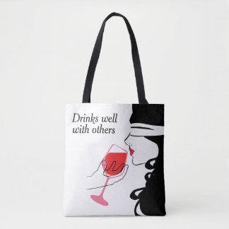"""Bolsa Tote Bebidas bem com outro sacola """"sexy"""" do vinho"""