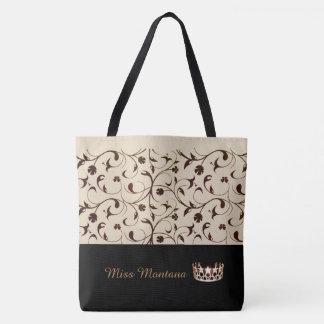 Bolsa Tote Bege da sacola da coroa do ouro da senhorita EUA &