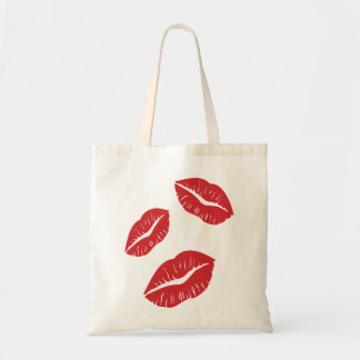 Bolsa Tote Beijos vermelhos do beijo da paixão do amor do
