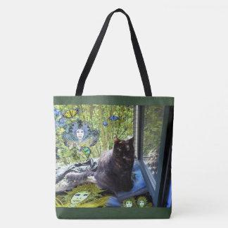 Bolsa Tote Beiras verdes da sacola: Gato na janela com fadas