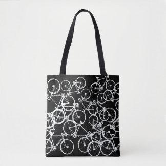 Bolsa Tote bicycles a sacola. bicicletas brancas no preto