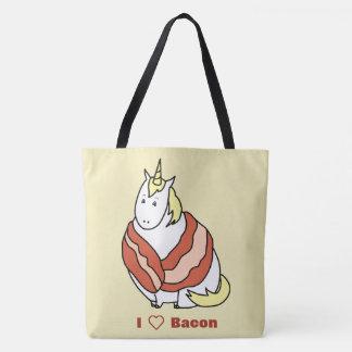 Bolsa Tote Bijorn o unicórnio carnudo ama o bacon
