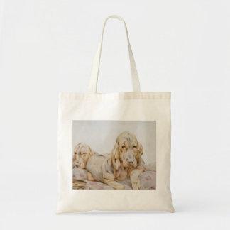 Bolsa Tote Bloodhounds bonitos do vintage, cães de filhote de