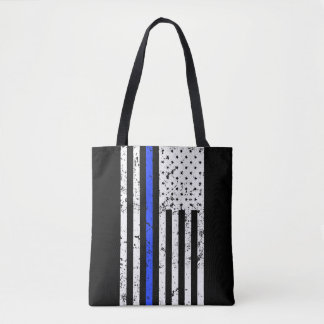 Bolsa Tote Blue Line fino - agente da polícia - bandeira