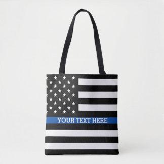 Bolsa Tote Blue Line fino - sacola da bandeira americana