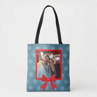Bolsa Tote Bolinhas do Natal com arco vermelho