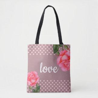 Bolsa Tote Bolinhas florais da arte dos rosas cor-de-rosa da
