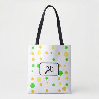 Bolsa Tote Bolinhas Monogrammed e saco amarelo verde listrado