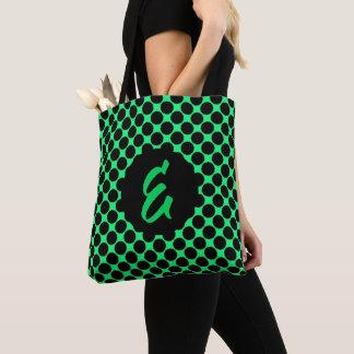 Bolsa Tote Bolinhas pretas do monograma no verde do quivi