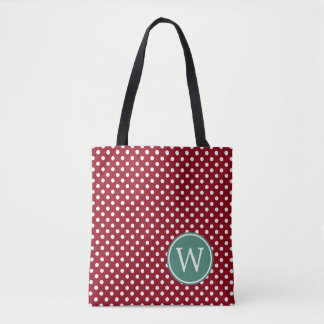 Bolsa Tote Bolinhas vermelhas e brancas com monograma