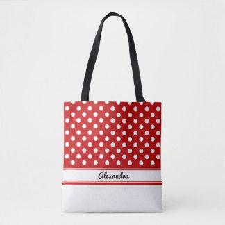 Bolsa Tote Bolinhas vermelhas e brancas feitas sob encomenda