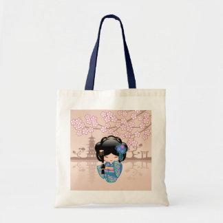 Bolsa Tote Boneca de Keiko Kokeshi - menina de gueixa azul do