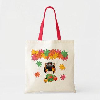 Bolsa Tote Boneca de Kokeshi da queda - menina de gueixa