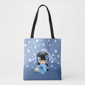 Bolsa Tote Boneca de Kokeshi do inverno - menina de gueixa
