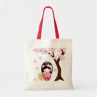 Bolsa Tote Boneca de Kokeshi do primavera - menina de gueixa