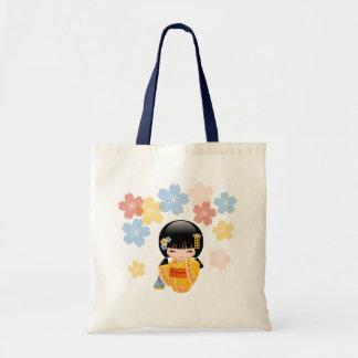 Bolsa Tote Boneca de Kokeshi do verão - menina de gueixa