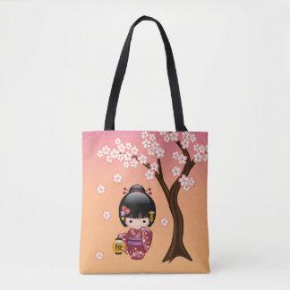 Bolsa Tote Boneca de Sakura Kokeshi - menina de gueixa