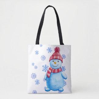 Bolsa Tote Boneco de neve com flocos de neve