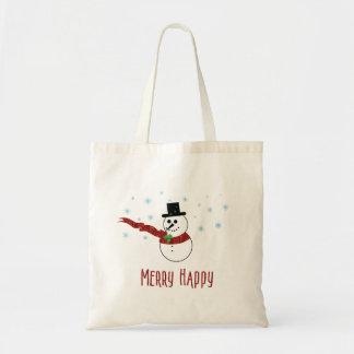 Bolsa Tote Boneco de neve feliz alegre com lenço vermelho