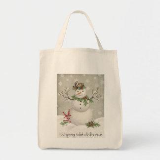 Bolsa Tote boneco de neve moderno do wintergarden do vintage
