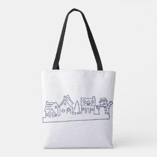 Bolsa Tote Boneco de neve na sacola santamente da noite