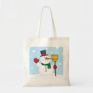 Bolsa Tote Boneco de neve que guardara uma sacola da vassoura