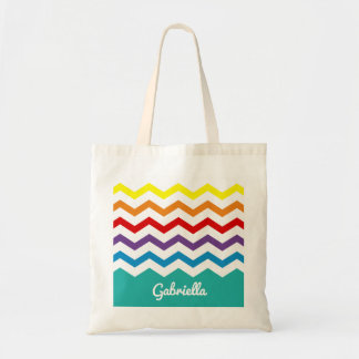 Bolsa Tote Bonito colorido de Chevron do arco-íris dos miúdos