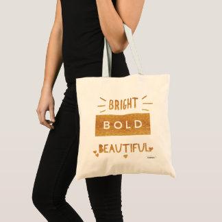 Bolsa Tote Bonito corajoso brilhante, texto do ouro