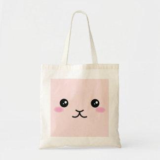 Bolsa Tote Bonito, kawaii, design cor-de-rosa do coelho