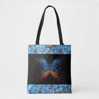 Bolsa Tote Borboleta abstrata com borboletas azuis
