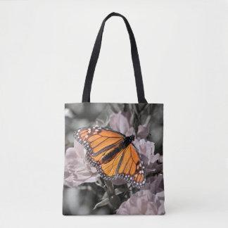 Bolsa Tote Borboleta de monarca em flores cor-de-rosa e