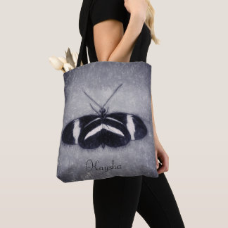Bolsa Tote Borboleta preto e branco do esboço Monogrammed