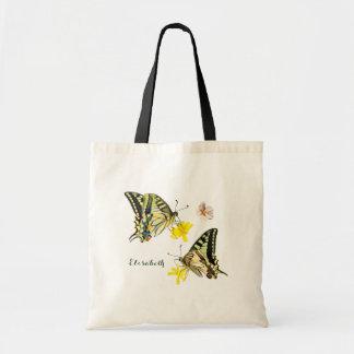 Bolsa Tote Borboletas bonito e flores