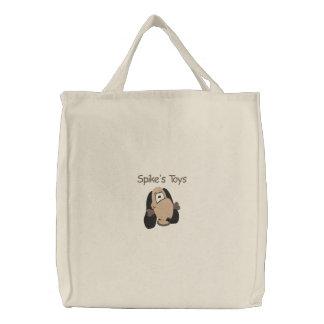 Bolsa Tote Bordada Cabeça bonito do cachorrinho com teste padrão do