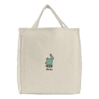 Bolsa Tote Bordada cacto potted saco bordado personalizado