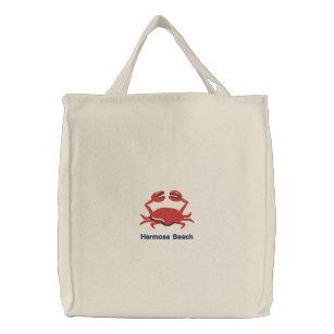 Bolsa Tote Bordada Caranguejo vermelho praia personalizada 6d822574536