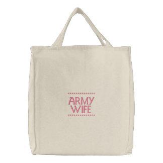 Bolsa Tote Bordada Esposa do exército