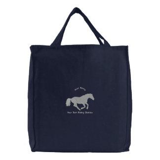 Bolsa Tote Bordada Estábulos de equitação do cavalo ou do pônei