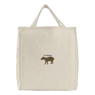 Bolsa Tote Bordada Eu amo a sacola dos Capybaras