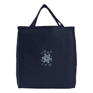 Bolsa Tote Bordada Floco de neve da estrela de David