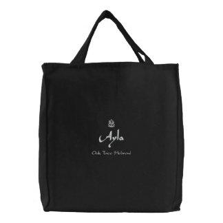 Bolsa Tote Bordada Nome de Ayla com preto hebreu do significado