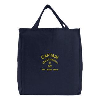 Bolsa Tote Bordada Nome personalizado do capitão e dos barcos