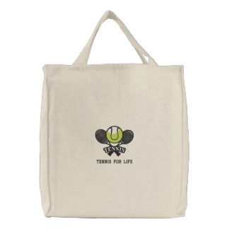 Bolsa Tote Bordada Raquetes e bola de tênis personalizadas bordadas