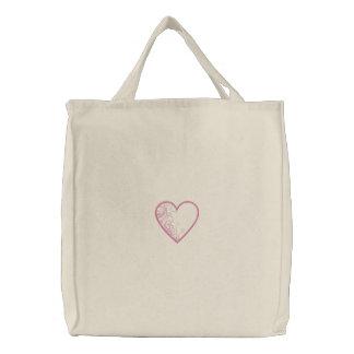 Bolsa Tote Bordada Saco bordado coração