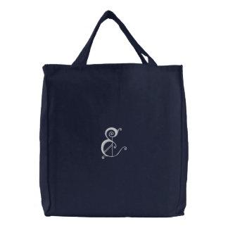 Bolsa Tote Bordada Saco bordado da letra E monograma extravagante