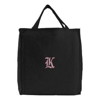 Bolsa Tote Bordada Saco bordado monograma da letra K